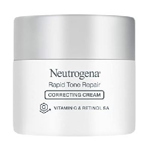 Neutrogena Rapid Tone Repair Vitamin C Brightening Correcting Cream, Tone Evening Face, Neck, and Chest Cream with Vitamin C, Retinol, and Hyaluronic Acid for Dark Spots and Wrinkles 1.7 oz